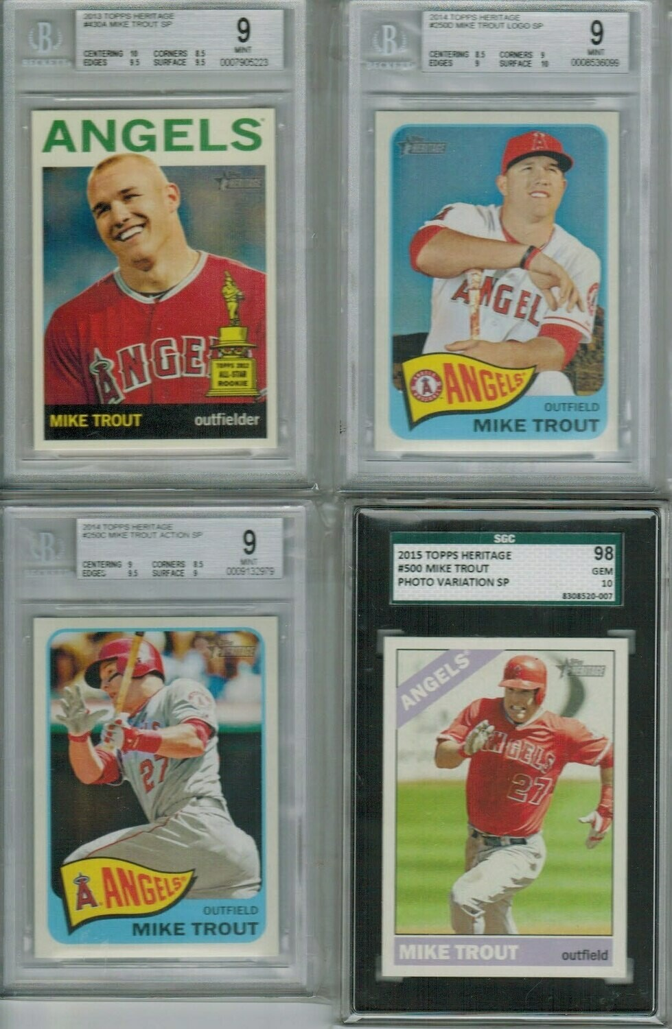 2014 Heritage #250D Mike Trout Logo SP Beckett 9