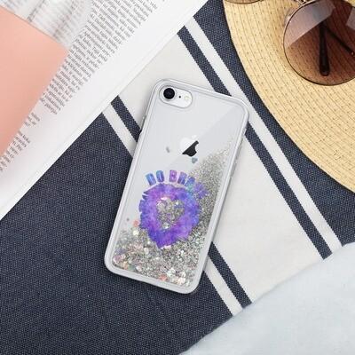 Watercolor Do Brave Liquid Glitter Phone Case