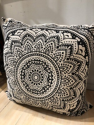JUMBO Black and Ivory Pillow 36x36