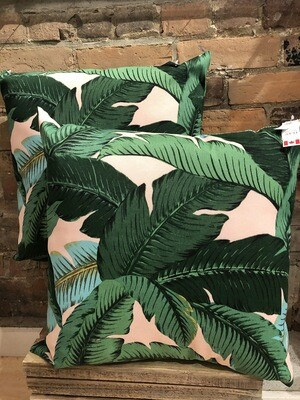 Pink Palm Leaves 20x20 Pillow