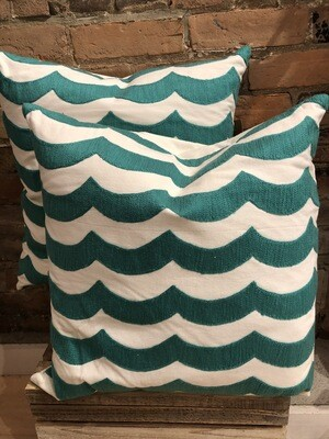 Turquoise Waves 20x20 Pillow