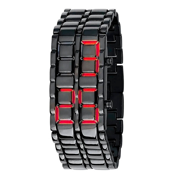 Reloj Samurai Red LED Digital Vestir Correa Metálica - rojo