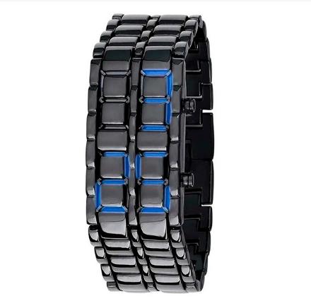 Reloj Samurai Red LED Digital Vestir Correa Metálica - azul