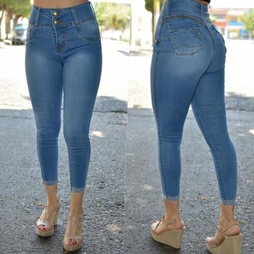 Pantalon tobillero pretina alta con dobles