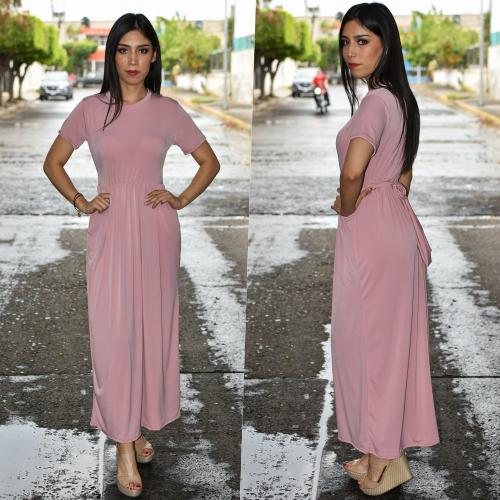 Maxi vestido con Bolsas-Rosa