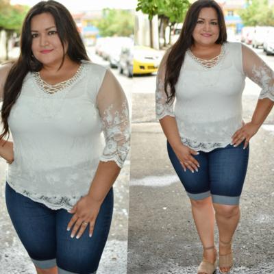 Blusa blanca con transparencia