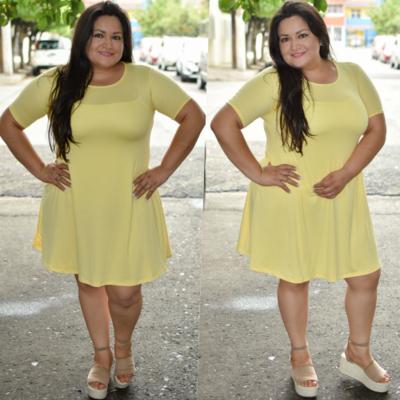 Vestido corte A Curvy Amarillo