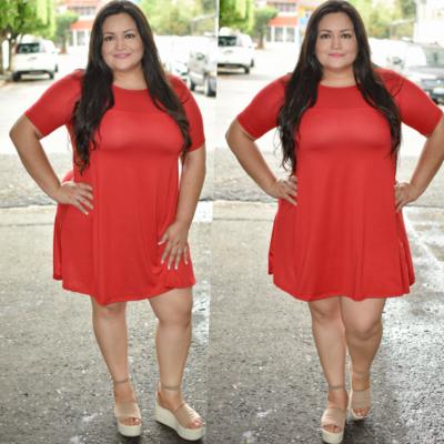 Vestido corte A Curvy Rojo