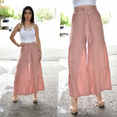 Maxi pantalon seccionado Rosa