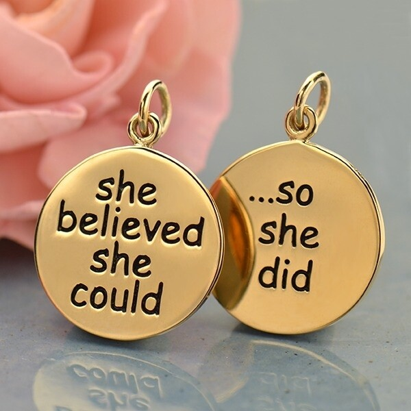 She Believed She Could So She Did Message Pendant - Bronze