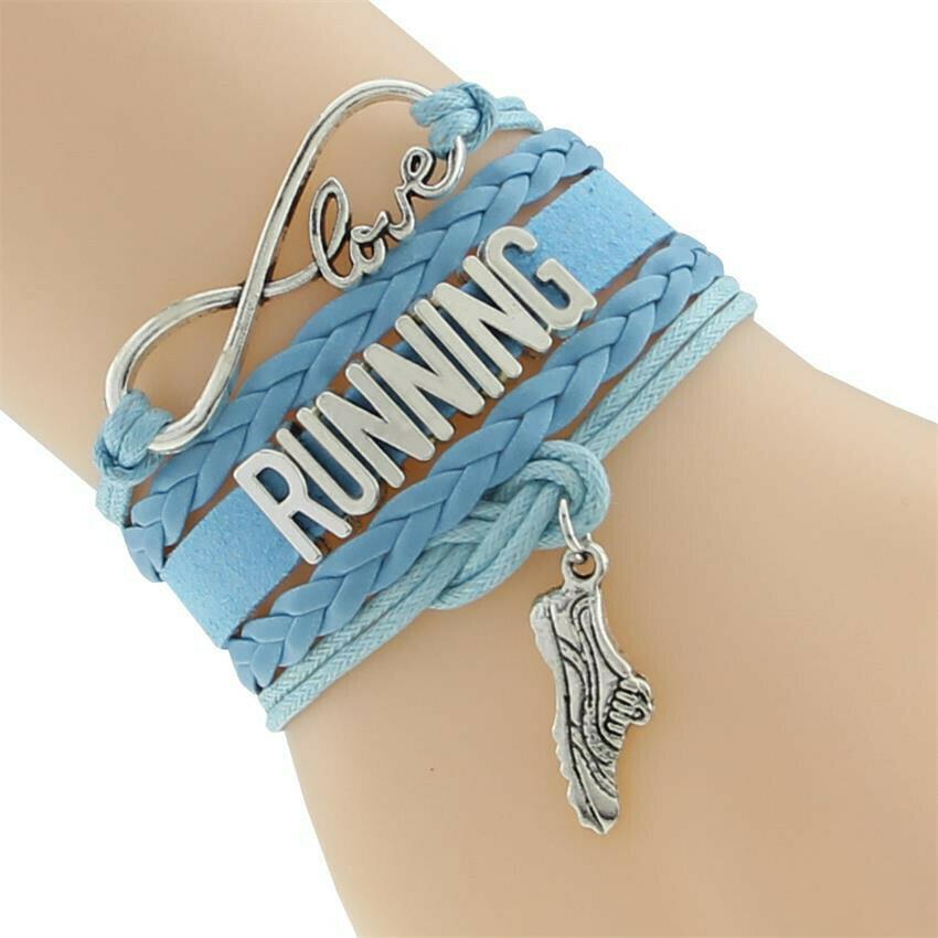 I Love Running Leather Wrap Bracelet - Free Gift