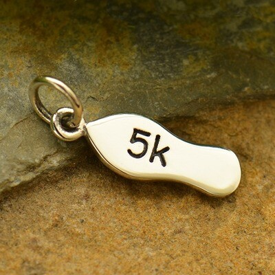 Sterling Silver 5K Running Shoe Charm Necklace