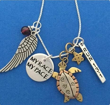 Sterling Silver My Race My Pace Run 13.1 Necklace