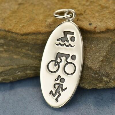Sterling Silver Charm Necklace Triathlon Symbols Fitness Jewelry