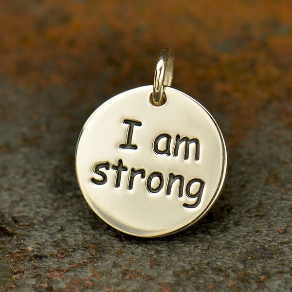 Sterling Silver Charm Necklace I am Strong