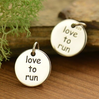 Sterling Silver Love to Run Fitness Jewelry Charm Necklace
