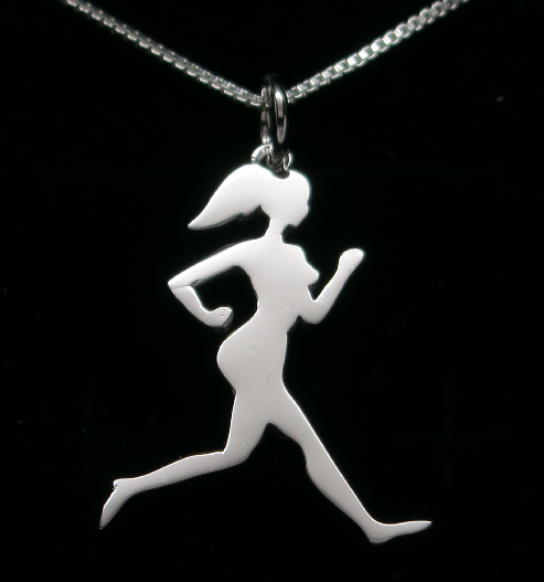 Sterling Silver Runner Girl Silhouette Necklace