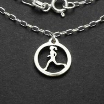 Sterling Silver Running Gal Charm Necklace