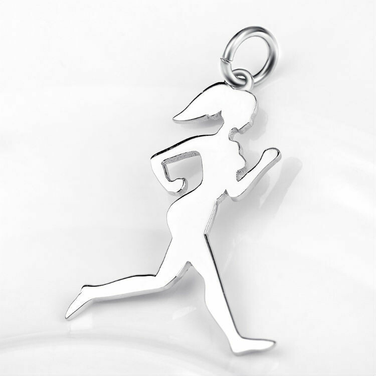 Sterling Silver Runner Girl Silhouette Charm