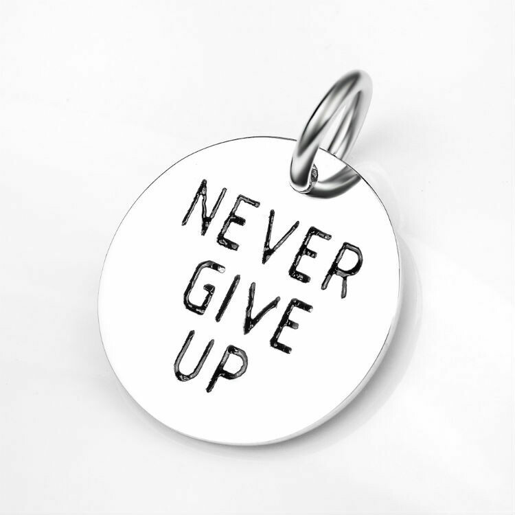Never Give Up Sterling Silver Charm