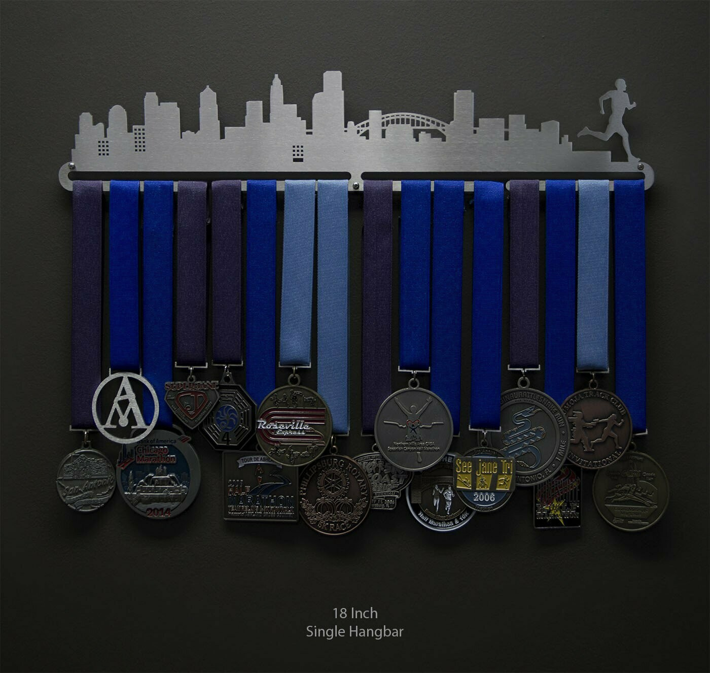 Cityscape Medal Display - Male Runner