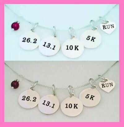 All Sterling Silver Run 13.1/26.2/5K/10K Necklace