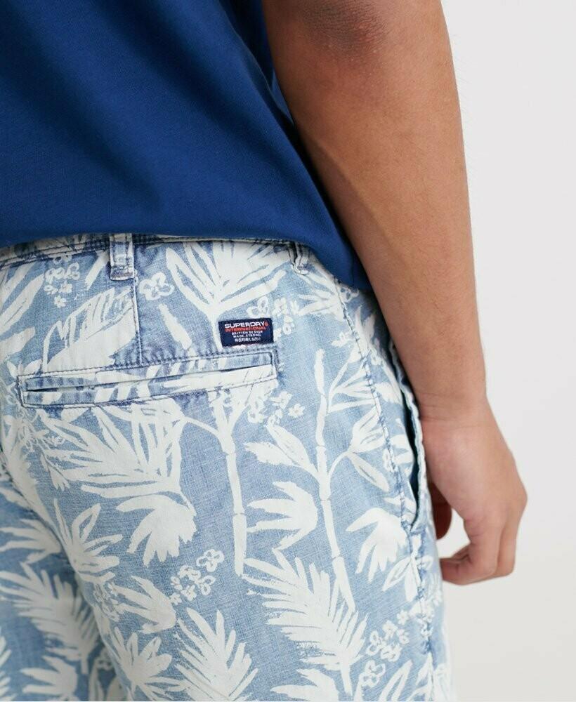 bermuda chino short Palmeras chambray azul
