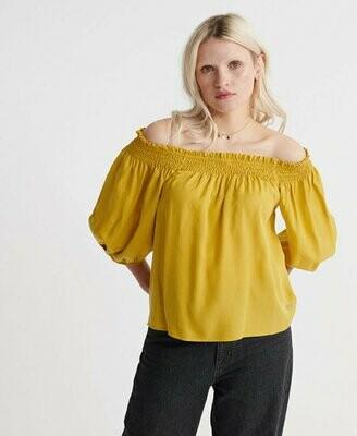 Camiseta Top Hombros Descubiertos Amarillo Aceite