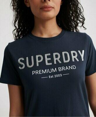 Camiseta Superdry Con Lentejuelas Azul
