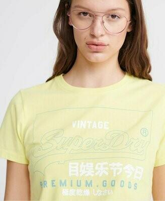 Camiseta Amarilla De Algodón Orgánico Premium Goods Label Outline