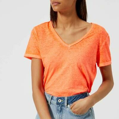 Camiseta burn out coral cuelo de pico