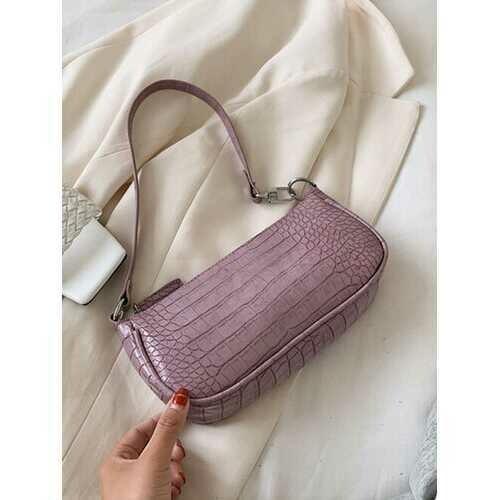 Women Crocodile Pattern Solid Shoulder Bag