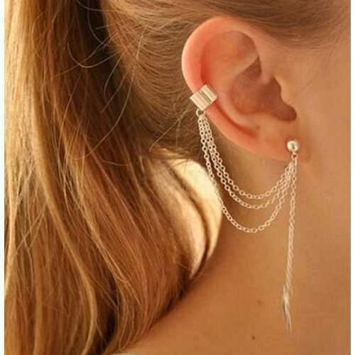 Rock Leaf Chain Tassel Dangle Ear Cuff Wrap Earring