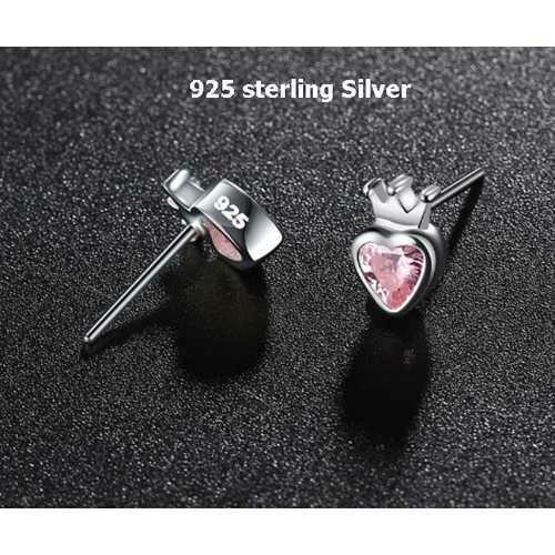 925 Sterling Silver Pink Heart Stud Earrings