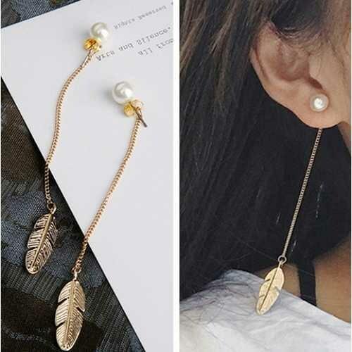 Pearls Long Leaf Feather Earrings