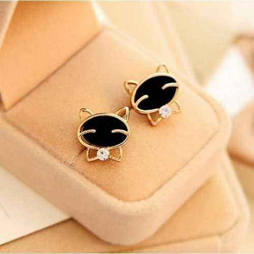Black Smiling Cat Delicate Golden Earring