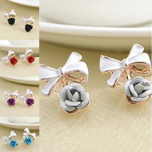 1 Pair Women Charming Rose Flower Ear Studs Bowknot