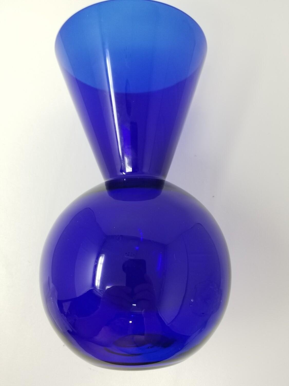 Vintage Modern Cobalt Blue Vase Cone Into Sphere