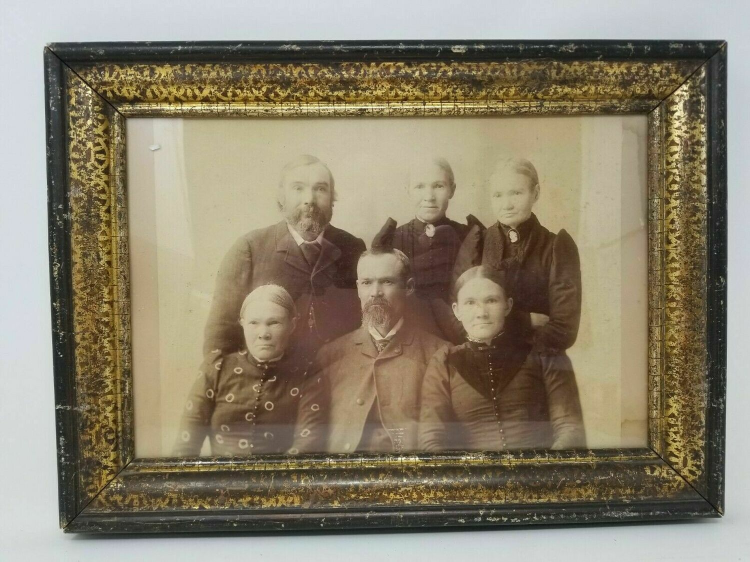 Antique Framed Victorian Family Portrait Sepia Sisters Brothers Illusion 1800s