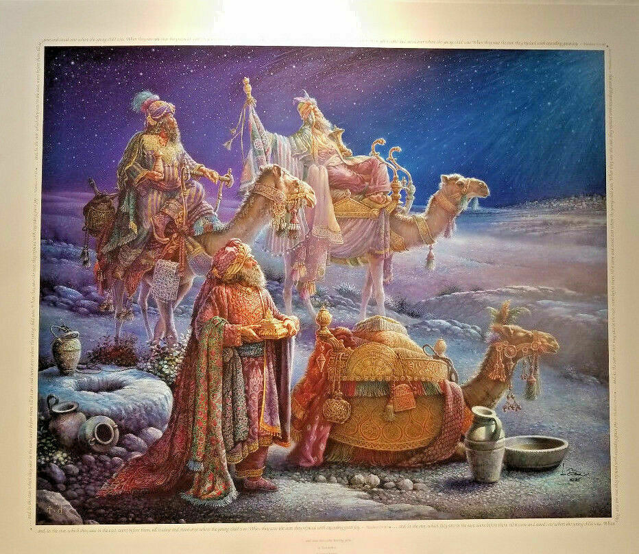 """And Wise Men Came Bearing Gifts Tom Dubois Signed Numbered COA 24"""" x 28"""" Print"""