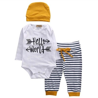 Hello World T-shirt Romper & Pants and Headwrap
