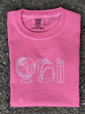Back to School Quad Sketch Pink Tee