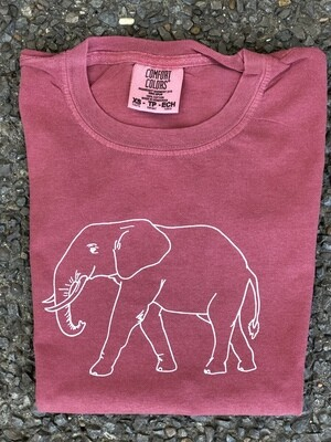 Elephant Sketch Crimson Tee