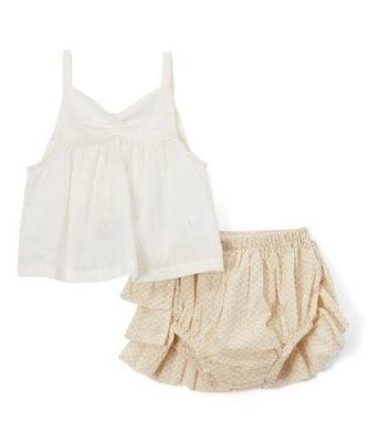 Cream Ruffled Diaper Cover and tank top