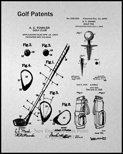 Golf Collage Gray Patent Print - Framed