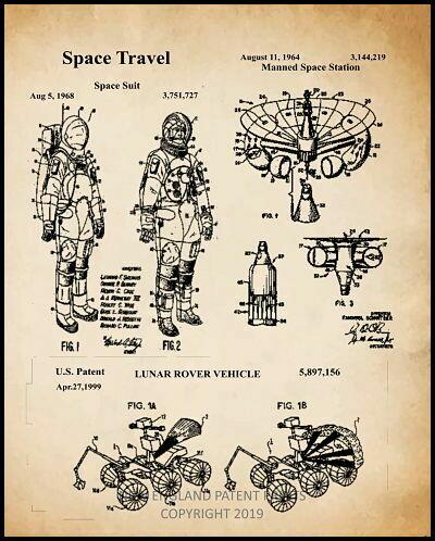 Astronaut Collage Patent Print