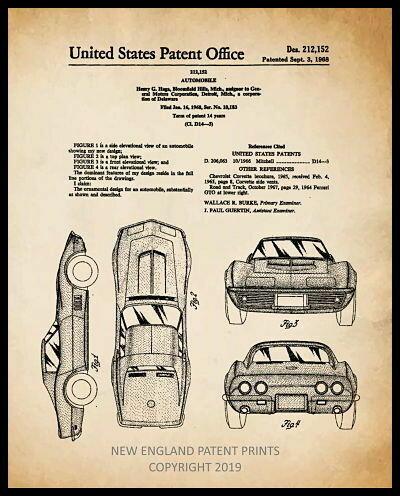 Corvette Patent Print - Sepia Framed