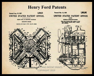 Ford Collage Patent Print - Sepia Framed