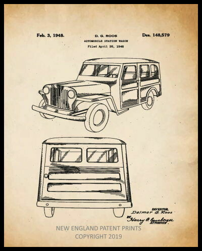 Jeep Station Wagon Collage Patent Print - Sepia Framed