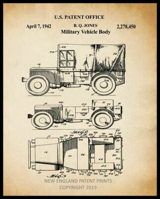 Jeep Collage Patent Print - Sepia Framed
